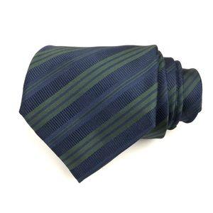 Italo Ferretti XL Silk Navy Blue/Green Striped Tie